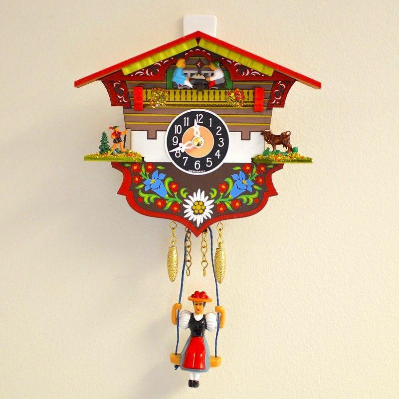 鳩時計 アレクサンダー タロン ブラックフォレスト シャレットハウス クロック ブランコ付 Black Forest Chalet House Cuckoo Clock with Swinging Girl Alexander Taron 143KSQ