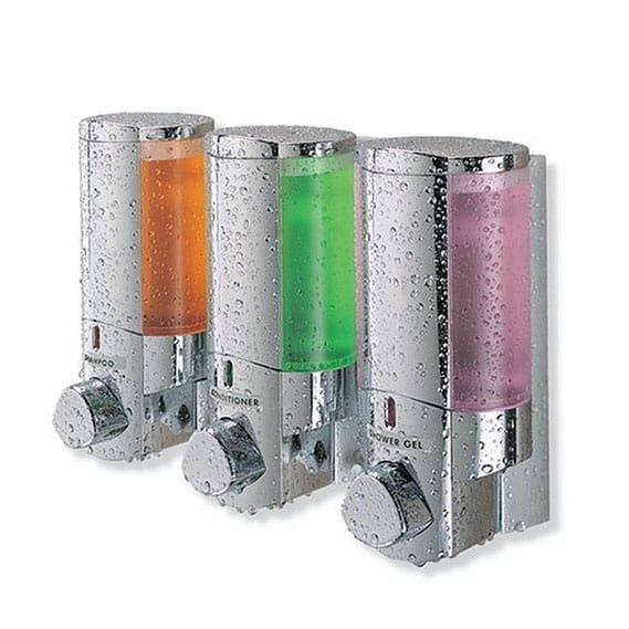 Bon Pump Triple Dispenser Shampoo Soap Chrome Better Living AVIVA Three Chamber  Dispenser Chrome For The Better Living Aviva Wall