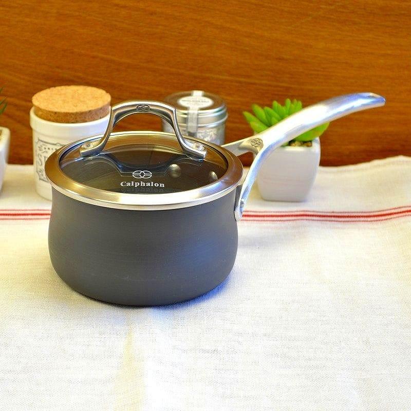 カルファロン 0.9L フタ付片手鍋 テフロン加工 フッ素樹脂Calphalon Unison Sauce Pans 1Quart 1756062