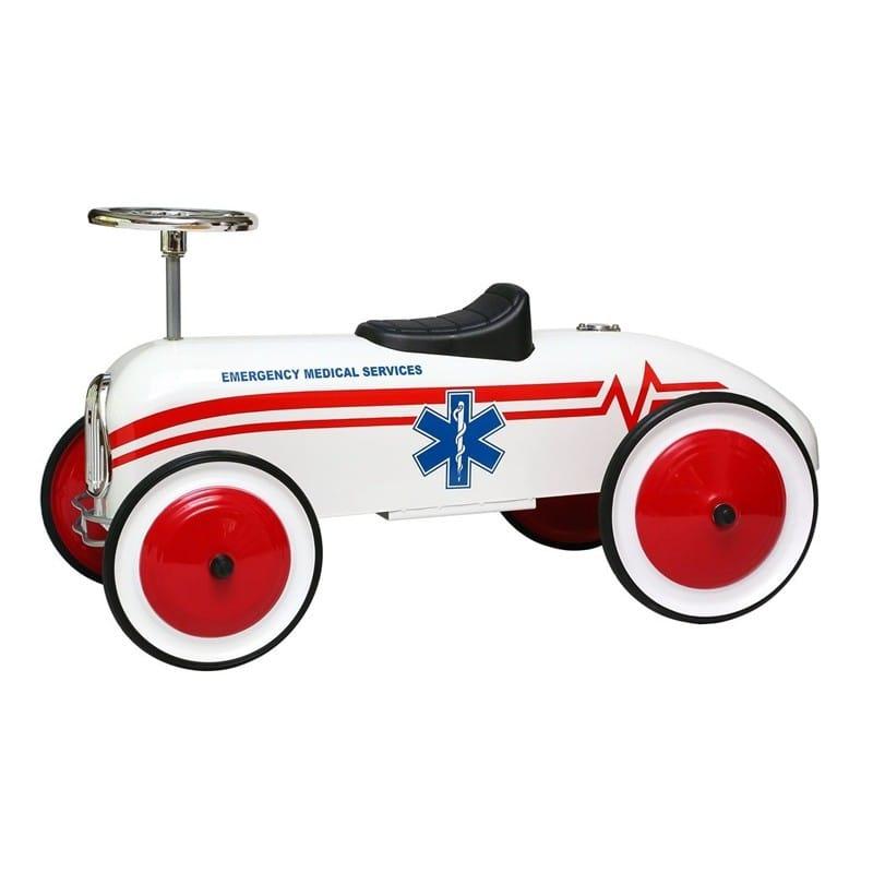 【組立要】乗用玩具 おもちゃ 赤ちゃん お祝い 入学式 入園 おすすめ モルガン・サイクルレトロスタイル・EMS救急車子供 白Morgan Cycle Retro Style EMS Ambulance Children Foot to Floor Ride-On, White