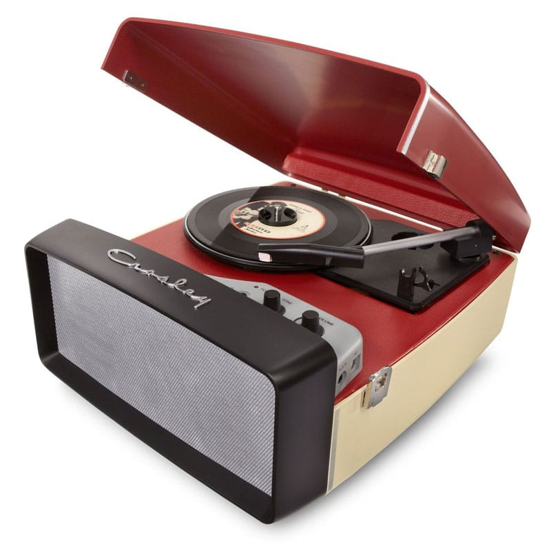クロスリー USB対応3スピード ポータブル ターンテーブル Crosley CR6010A-Re Collegiate USB-Enabled 3-Speed Turntable with Software Suite for Ripping and Editing Audio Red & Cream 家電