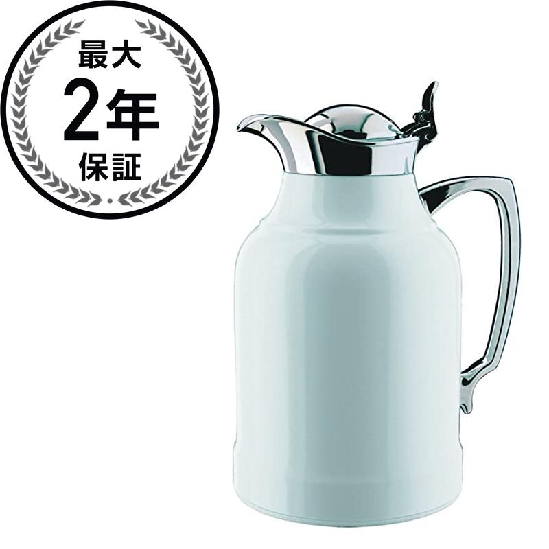 アルフィ オパールホワイト漆塗り魔法瓶 Alfi Opal White Lacquered Brass Thermal Carafe with Chrome Trim