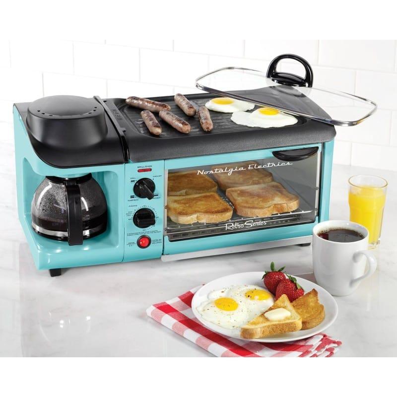 朝食準備セット オーブン トースター ホットプレート ノスタルジア レトロシリーズ カリフォルニア 西海岸 クラシック ビンテージ Nostalgia 3-in-1 Breakfast Station 家電