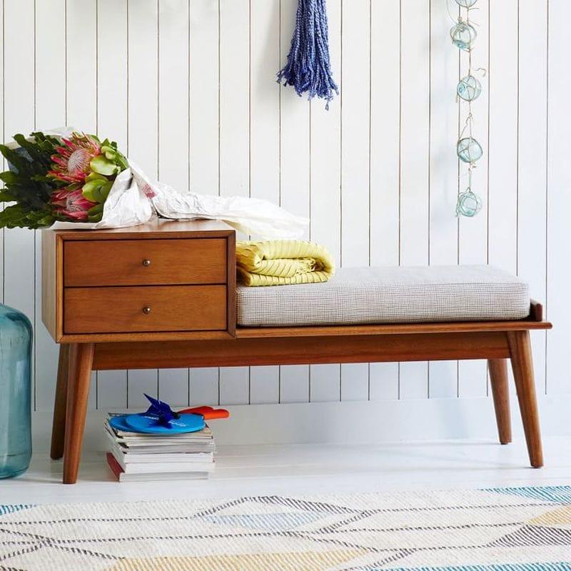 ミッドセンチュリー 棚 ベンチ 椅子 チェア Mid-Century Storage Bench - Acorn
