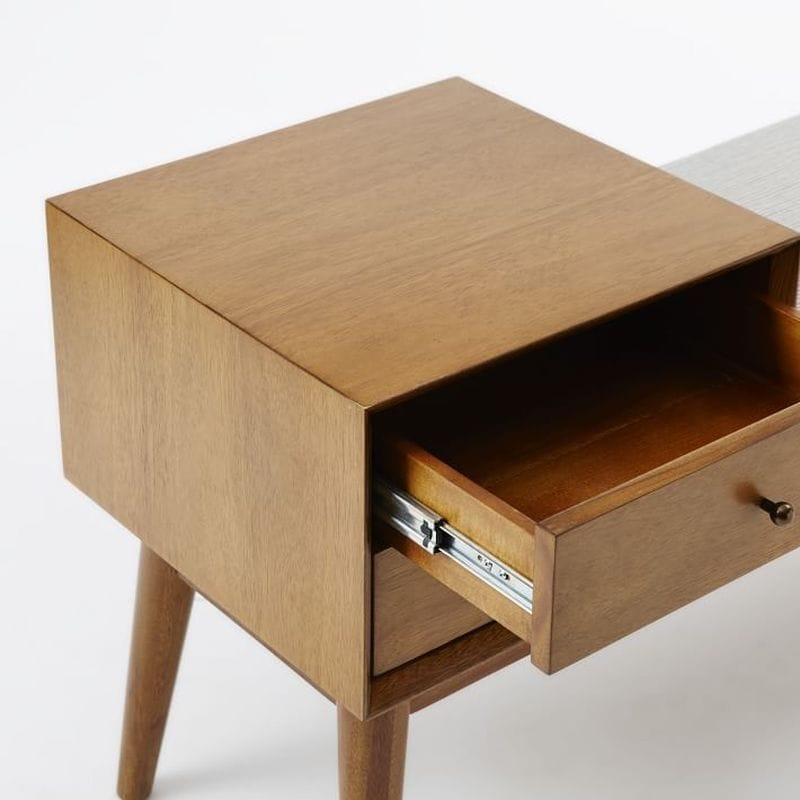 Mid Century Shelf Bench Chair Chair Mid Century Storage Bench   Acorn