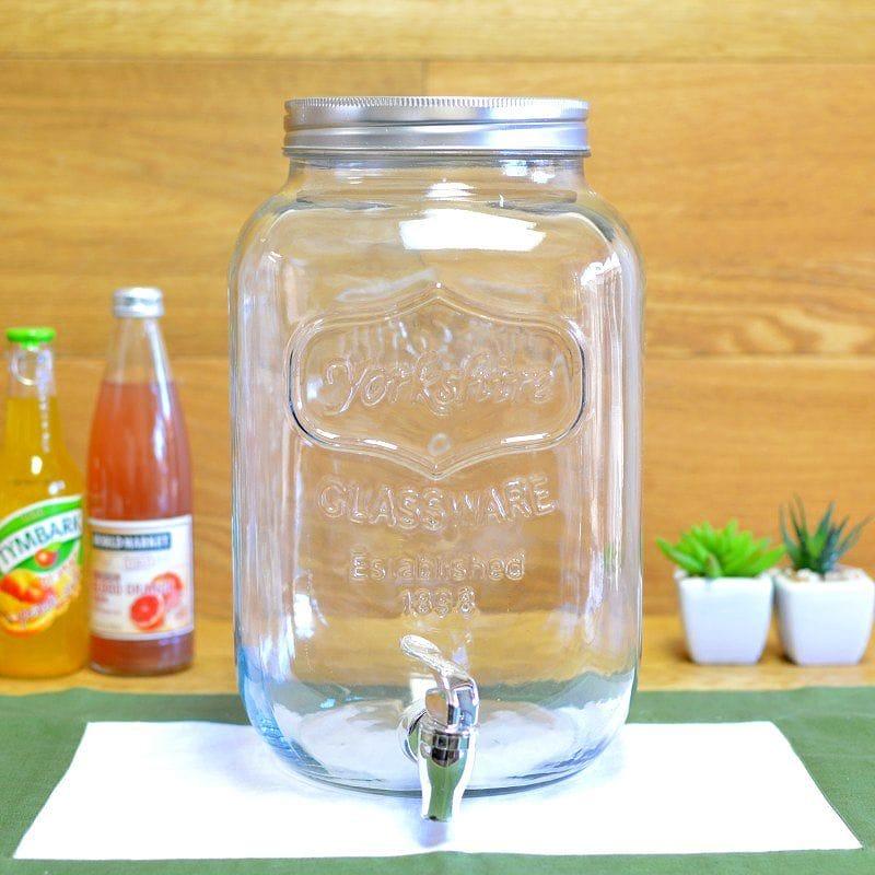 ドリンクサーバー メイソンジャー ガラス ドリンク ビバレッジ ディスペンサー 7.5L Palais Glassware High Quality Mason Jar Beverage Dispenser Traditional Tin Screw Off Lid - 2 Gallon Capacity