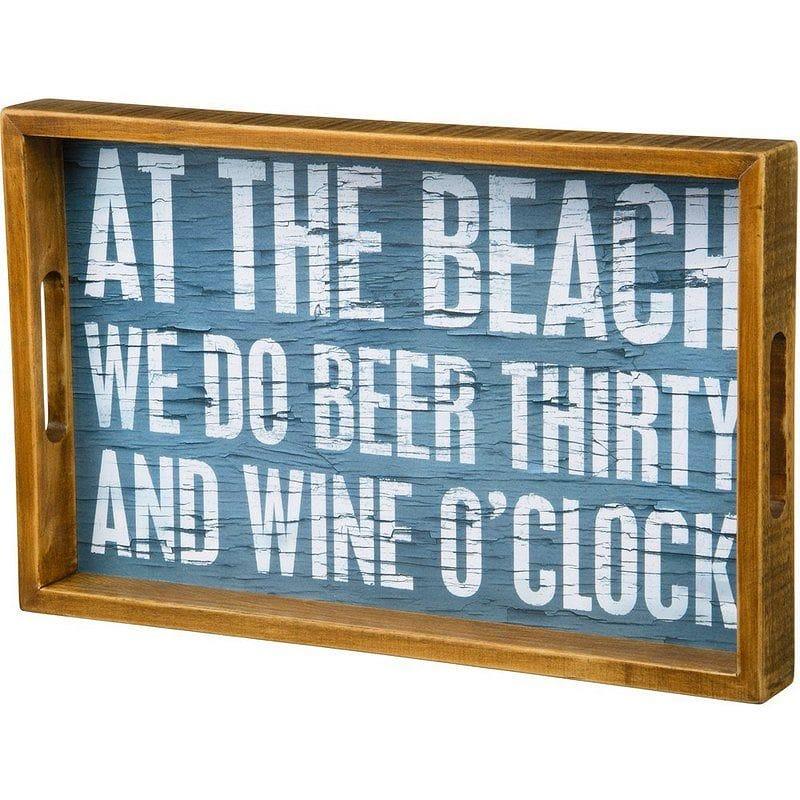 デコレーショントレイ ナチュラル ビーチ ビール ワイン ドリンク お盆 木 ウッド At the beach we do beer thirty and wine o'clock Natural Wood Tabletop Tray Plaque
