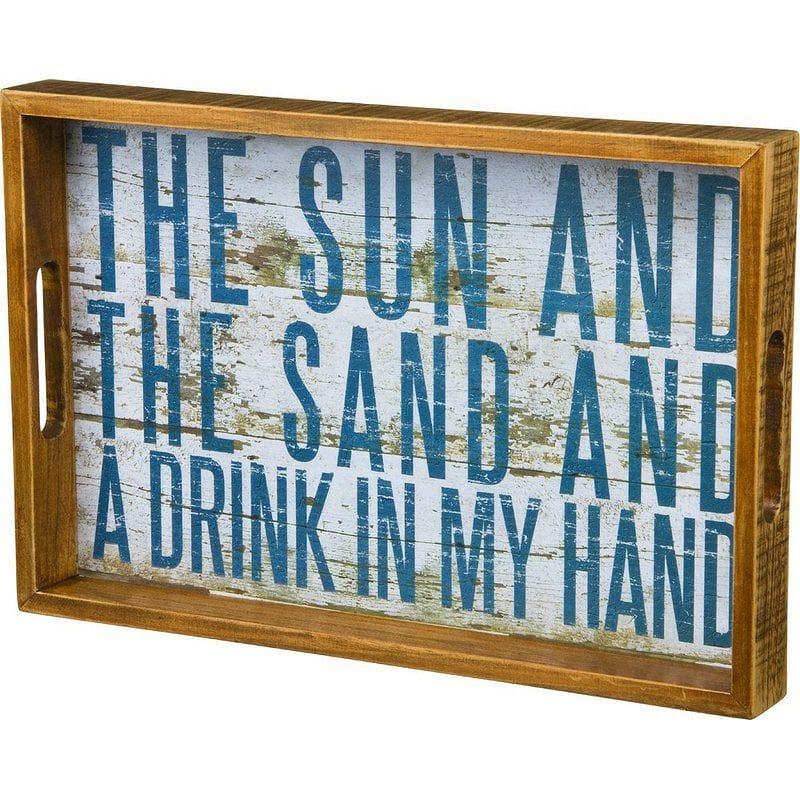 デコレーショントレイ ナチュラル ビーチ 太陽 砂 お盆 木 ウッド Sun and Sand Natural Wood Tabletop Tray Plaque