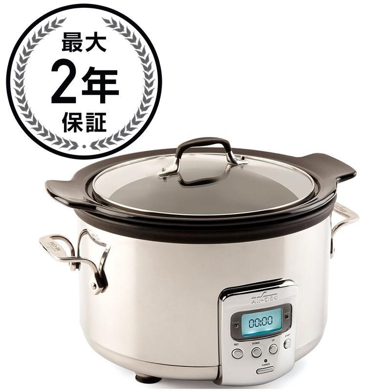オールクラッド スロークッカー 3.8L セラミック内鍋 All-Clad Slow Cooker with Black Ceramic Insert and Glass Lid, 4-Quart 家電