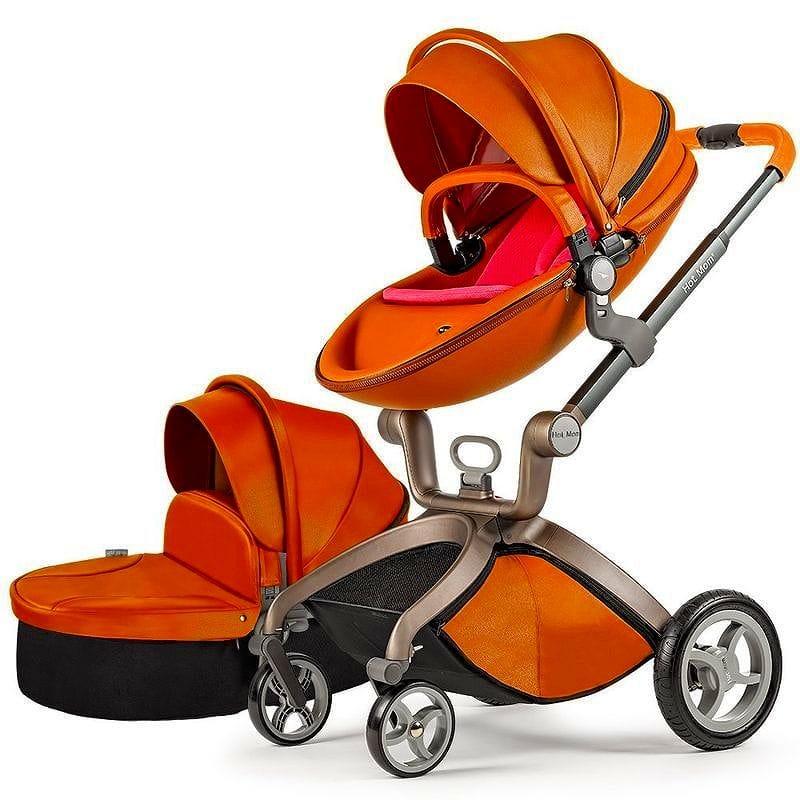 ホットマム ベビーカー ストローラー バシネット 革 皮 Baby Stroller 2016, Hot Mom 3 in 1 travel system and Bassinet Combo