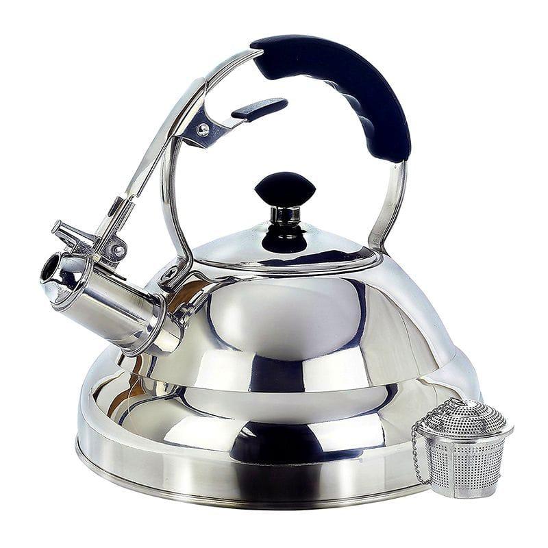 ケトル やかん ステンレス 2.6L Tea Kettle Surgical Whistling Stove Top Kettle Teapot with Layered Capsule Bottom, Silicone Handle, Mirror Finish, 2.75 Quart - Tea Infuser Strainer Included