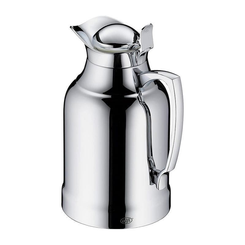Chrome 1.0 L alfi Opal Glass Vacuum Chrome Plated Brass Thermal Carafe for Hot and Cold Beverages