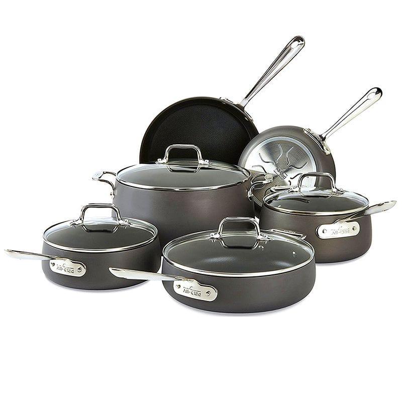 オールクラッド フライパン 鍋 10点セット PFOAフリー All-Clad E785SC64 HA1 Hard Anodized Nonstick Dishwasher Safe PFOA Free Cookware Set, 10-Piece. Black