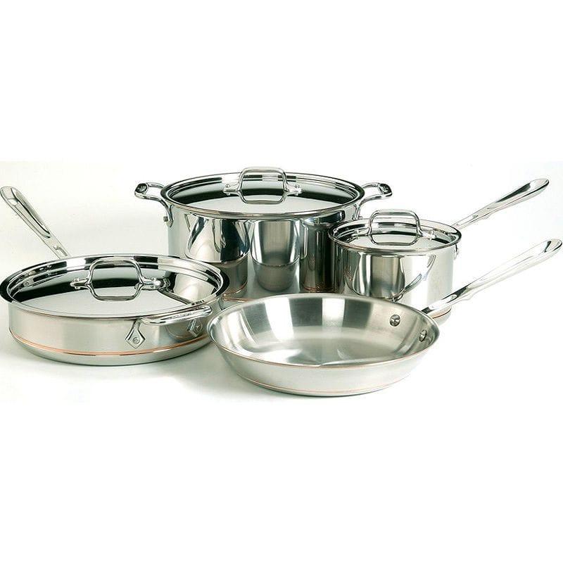 【30日間返金保証】【送料無料】 オールクラッド 銅 コッパーコア フライパン 鍋 7点セット All-Clad 6000-7 SS Copper Core 5-Ply Bonded Dishwasher Safe Cookware Set, 7-Piece, Silver
