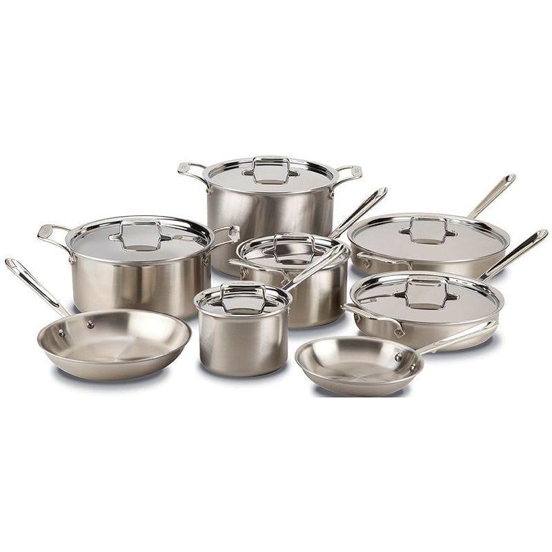 素晴らしい オールクラッド d5 ステンレス フライパン 鍋 14点セット All-Clad BD005714 D5 Brushed 18/10 Stainless Steel 5-Ply Bonded Dishwasher Safe Cookware Set, 14-Piece, Silver, 質SHOP 冨田 3053ba1b