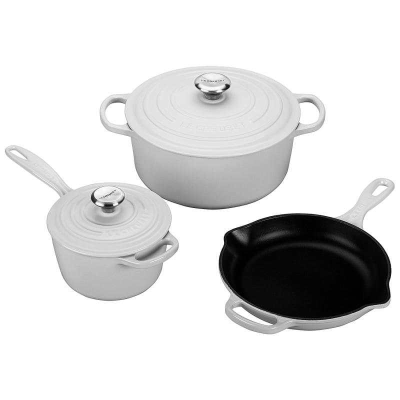 ルクルーゼ クックウェア 鍋 クックウェア White フライパン 3点セット Enameled ホワイト Le Creuset 5 Piece Signature Enameled Cast Iron Cookware Set, White, LAOX:132108db --- sunward.msk.ru