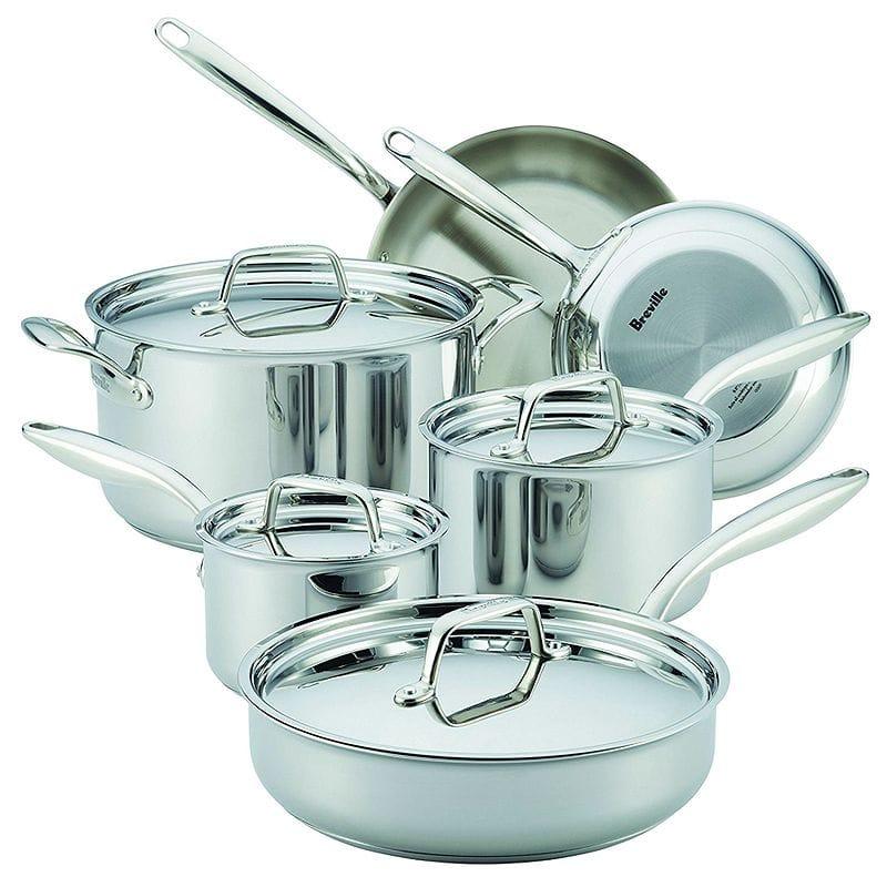 ブレビル サーマルクラッド ステンレス フライパン 鍋 10点セット Breville 10 Piece Thermal Pro Clad Cookware Set, Large, Stainless Steel
