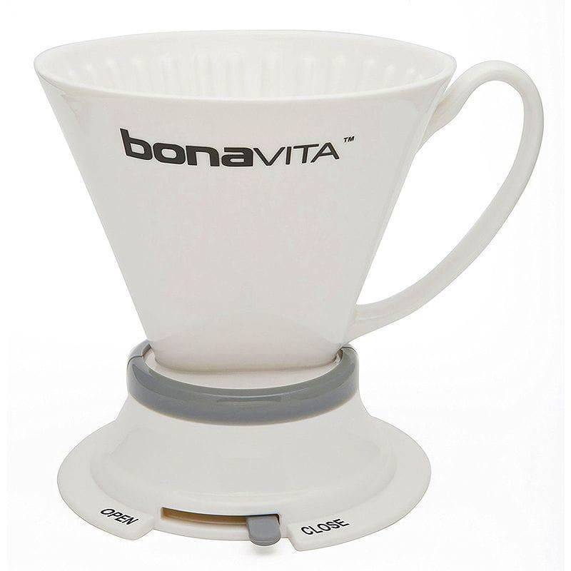 ドリッパーでプレスの味わい ボナビータ 開閉スイッチ付ドリッパー Bonavita Wide Base Porcelain Immersion Dripper