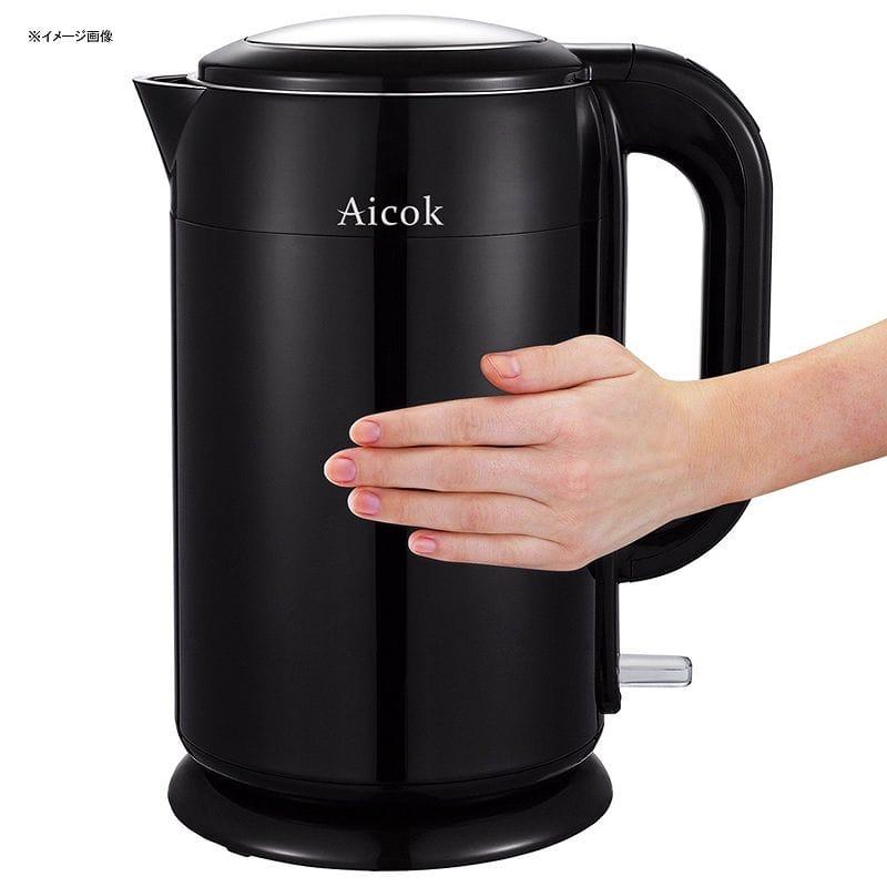 魔法瓶 電気ケトル 1.7L ステンレス Aicok Stainless Steel Double Wall Cool Touch Cordless Tea Kettle, 1.7-Liter, Black 家電