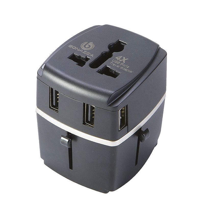 海外旅行用 変圧器 変換プラグ 1840W BONAZZA Universal World Travel Adapter Kit w/4 USB Ports - UK, US, AU, Europe Plug Adapter - Over 150 Countries & USB Power Adapter for iPhone, Android, All USB Devices - Surge Protection