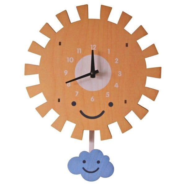 ウォールクロック 木製 振り子時計 壁掛け時計 おひさま 太陽 Modern Moose 10inch Sun Pendulum Wall Clock