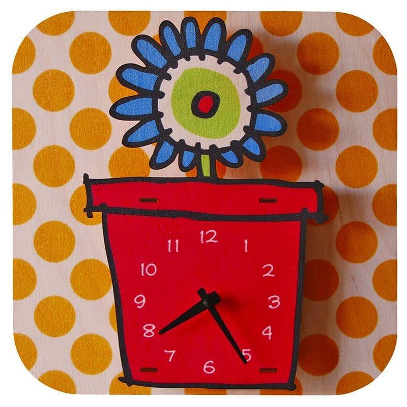 ウォールクロック 木製 壁掛け時計 フラワー 花 Modern Moose Flowerpot Wall Clock