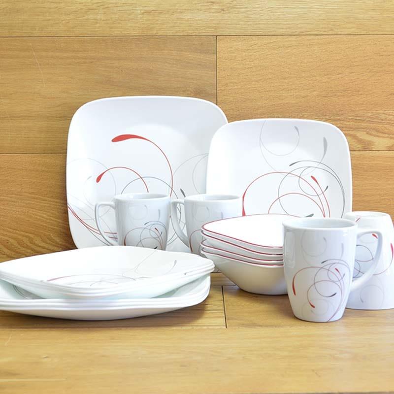 コレール スクエア リビングウェア ディナーセット 4人用 16点セット Corelle Square 16-Piece Dinnerware Set, Splendor, Service for 4
