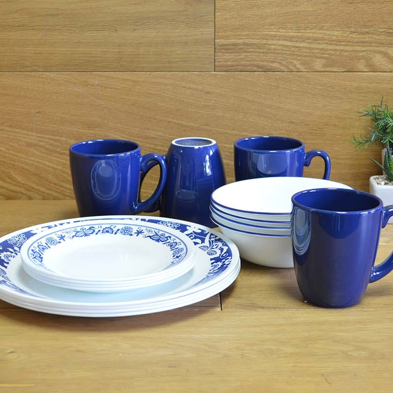 コレール ディナーセット 4人用 16点セット ブルー 花柄 Corelle Livingware 16-Piece Dinnerware Set, True Blue, Service for 4