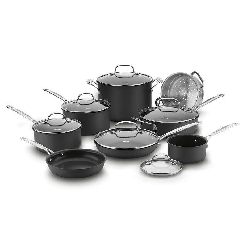 クイジナート フライパン 鍋 14点セット テフロン加工 フッ素樹脂 Cuisinart Chef's Classic Nonstick Hard-Anodized 14-Piece Cookware Set 66-14N