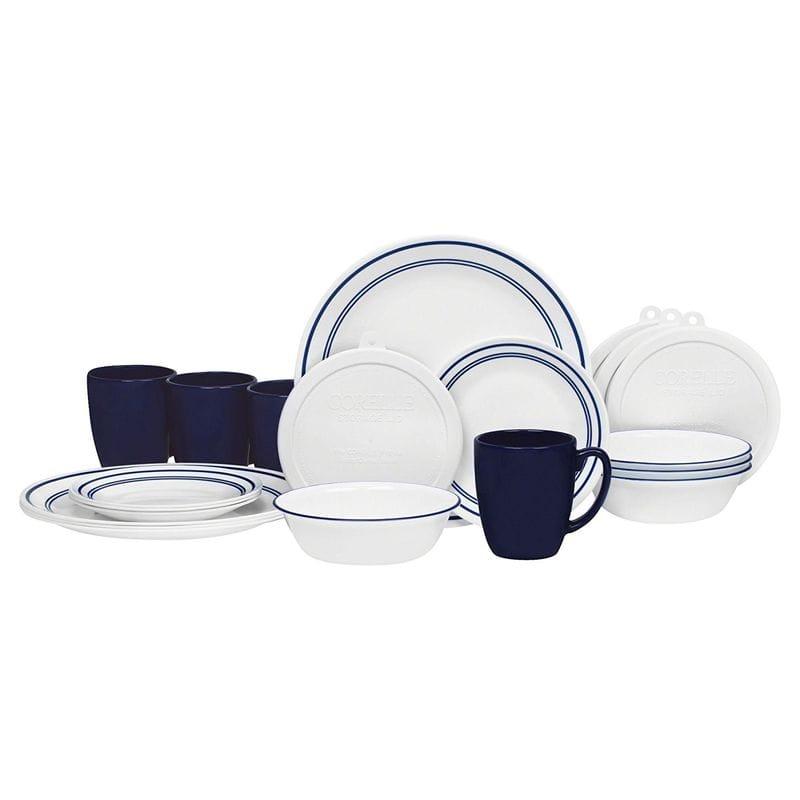 コレール ブルー ディナーウェア 4人用 20点セット クラシックカフェ ブルー 青 Corelle 20 ディナーウェア Storage, Piece Livingware Dinnerware Set with Storage, Classic Café Blue, Service for 4, ペーパーアーツ:7e2c10a6 --- sunward.msk.ru
