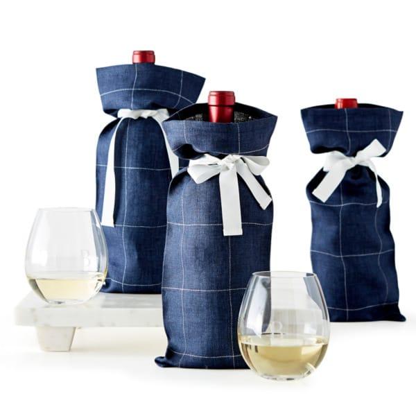 リネン ワインバッグ 3個セット Windowpane Linen Wine Bag, Set of 3