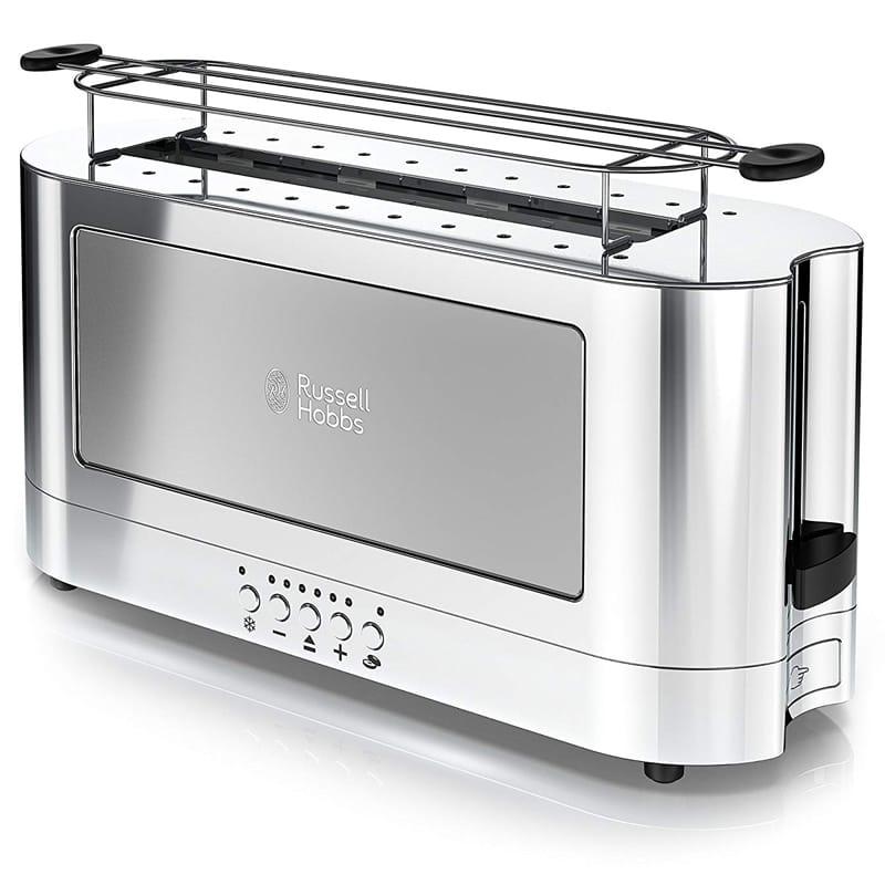ラッセルホブス ポップアップトースター 2枚焼 ステンレス Russell Hobbs 2-Slice Glass Accent Long Toaster, Silver & Stainless Steel, TRL9300GYR 家電