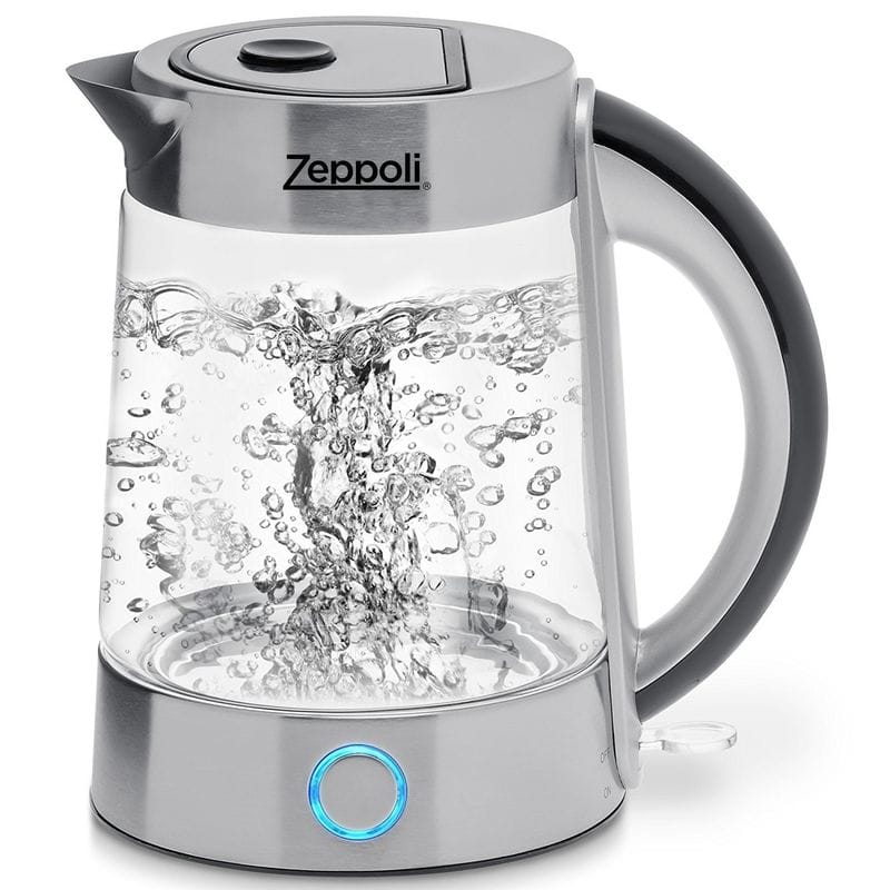 コードレス 電気ガラスケトル 1.7L Zeppoli Electric Kettle (BPA Free) - Fast Boiling Glass Tea Kettle (1.7L) Cordless, Stainless Steel Finish Hot Water Kettle 家電
