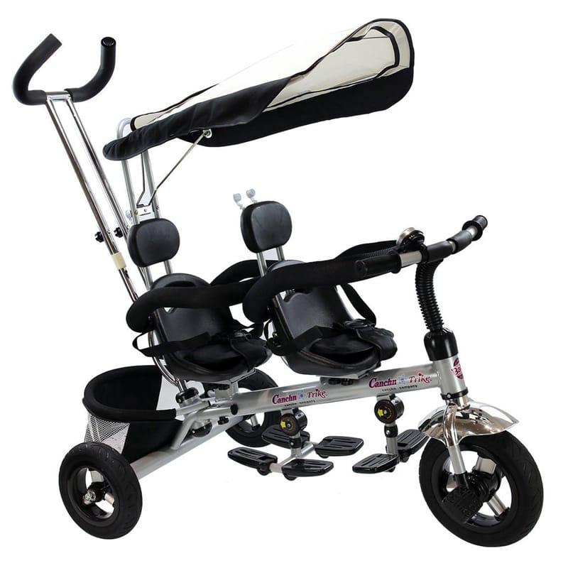 2人乗り 三輪車 双子用 シート可動 タンデム Costzon 4 In 1 Dual Twins Kids Trike Baby Toddler Tricycle Safety Double Rotatable Seat w/ Basket