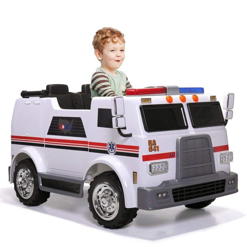救急車 12Vバッテリー付 子供用電動自動車 3~6才 電気自動車 電動カー JAXPETY Ride On Car Kids Ambulance Truck Electric 12V Battery Powered 2 Seat Toy Vehicle【代引不可】【組立要】 家電