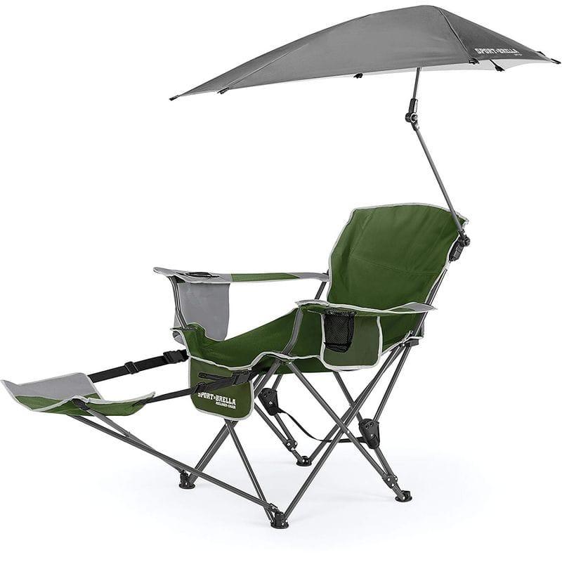 日傘付折り畳み椅子 リクライニング3段階 日焼け対策 ビーチ チェア 野外フェス 運動会 キャンプ Sport-Brella Recliner Chair