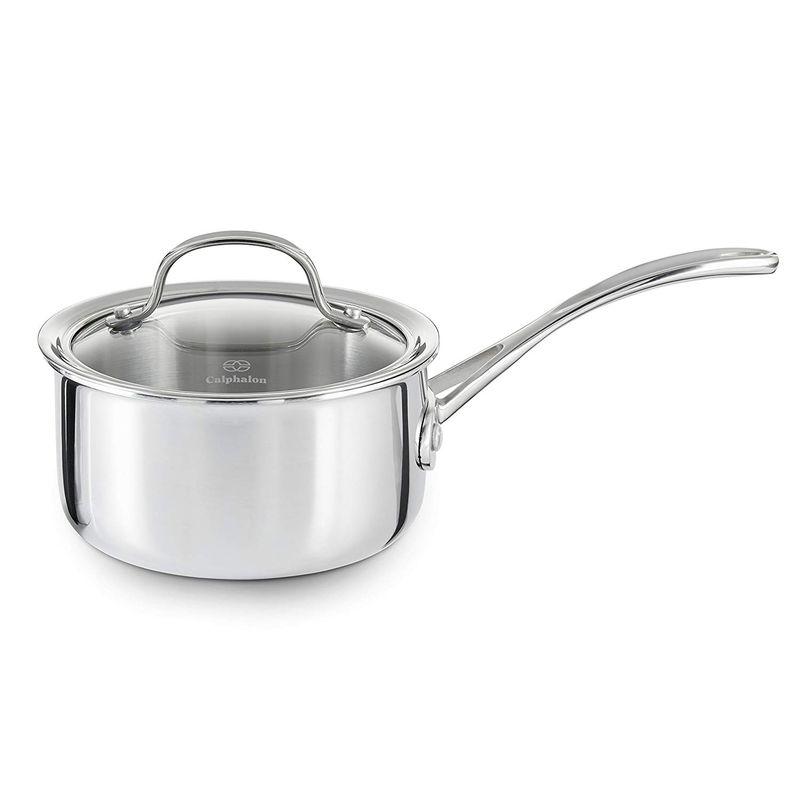 カルファロン ステンレス ソースパン フタ付 片手鍋 1.4L Calphalon Tri-Ply Stainless Steel 1-1/2-Quart Sauce Pan with Cover 1767981