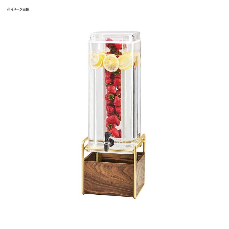 【送料無料】 ドリンクサーバー スクエア型 アクリルドリンクディスペンサー 11L インフューザー 木製スタンド付 レストラン カフェ ホテル Cal-Mil 3703-3INF-46 Mid-Century 3 Gallon Square Beverage Dispenser with Walnut and Brass Base and Infusion Chamber 2113INF46