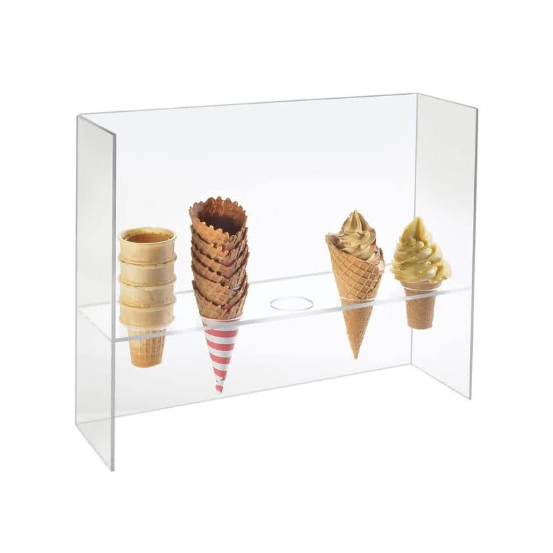 アイスクリームコーン ホルダー アクリル 5ホール Cal-Mil 394 Five Cone Ice Cream Cone Holder with Sneeze Guard