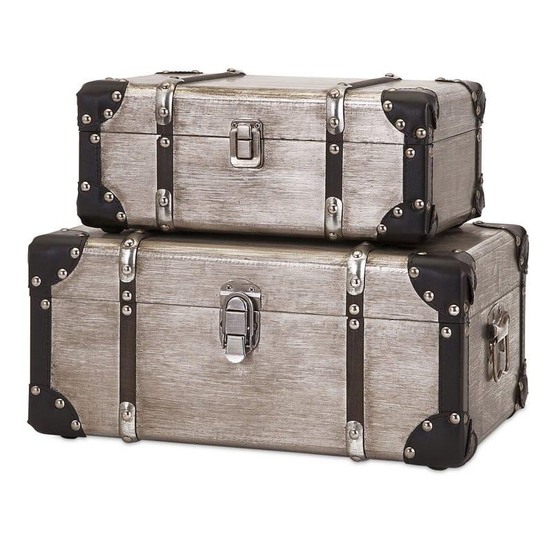 トランク 収納 アルミ製 ストレージ ボックス 箱 2個セット Cavour Refined Aluminum Clad 2 Piece Trunk Set