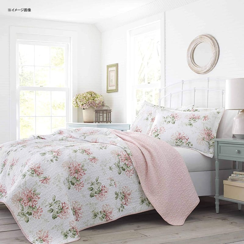 ローラアシュレイ コットン リバーシブル キルト 枕カバーセット ハニーサックル パステルピンク Laura Ashley Honeysuckle Quilt Set, Pastel Pink