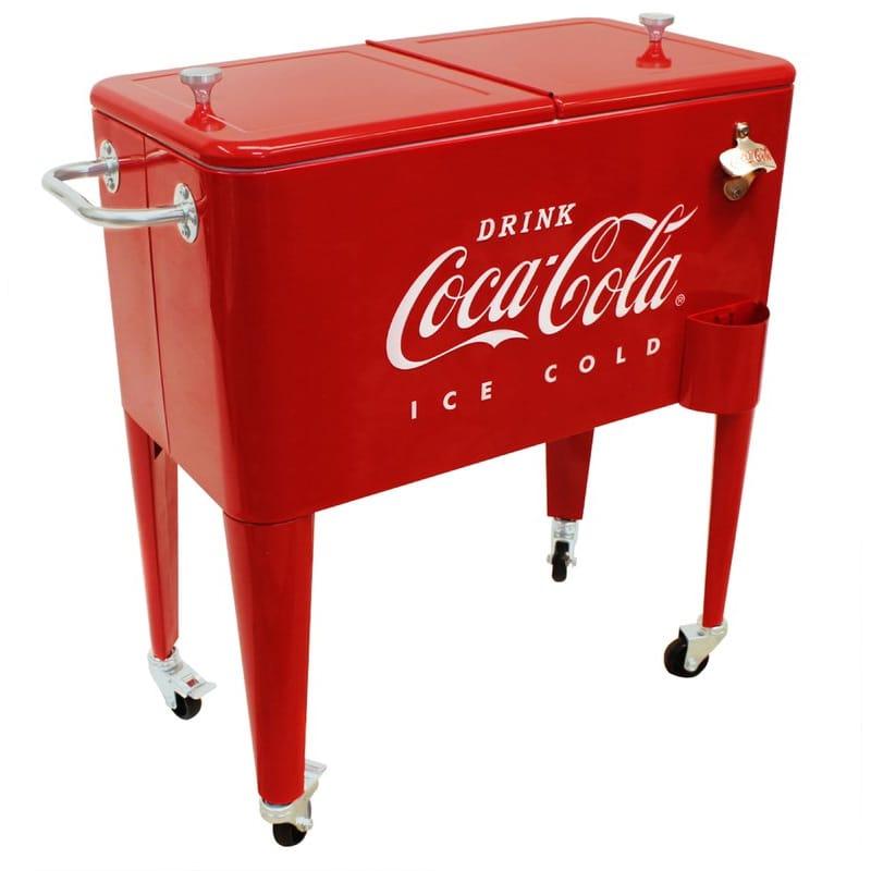 コカコーラ カート型 クーラーボックス キャスター付 オープナー付 レトロ Leigh Country CP 98105 60 Qt Coca-Cola Ice Cold (Embossed) Cooler, Red
