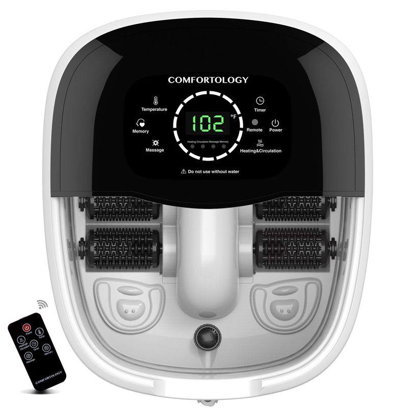 フットバス 温度調節 電動ローラー マッサージ リモコン付 Comfortology Leak-Proof Foot Spa Massager - Super Fast TPS Heating System Featuring 3 Layer Insulation, Electric Shock Free, 4 Motorized Massaging Rollers, 10L 家電