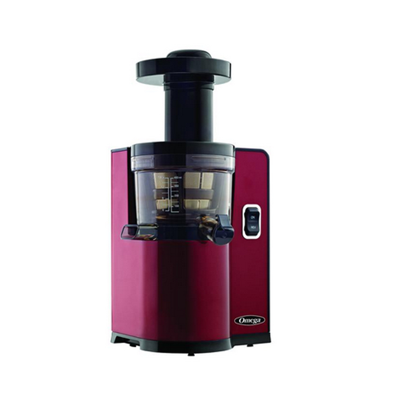 スロージューサー オメガ レッド 赤 Omega Juicers VSJ843QR Vertical Slow Masticating Juicer Makes Continuous Fresh Fruit and Vegetable Juice at 43 Revolutions per Minute Features Compact Design Automatic Pulp Ejection, 150-Watt, Red 家電