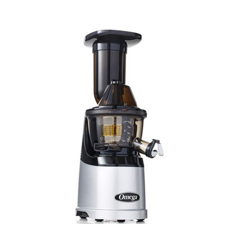 スロージューサー オメガ メガマウス 投入口が大きい シルバー Omega Juicers MMV700S MegaMouth Vertical Low Speed Quiet Juicer with Smart Cap Spout Tap, Silver 家電
