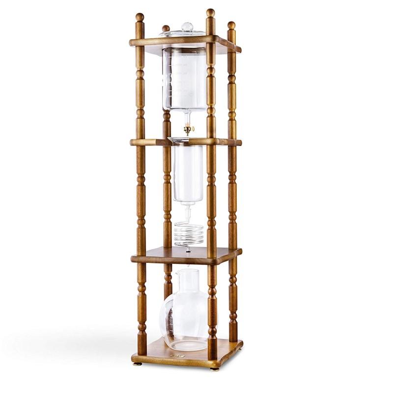 ヤマガラス コールドブリューコーヒーメーカータワー 25カップ ブラウン Yama Glass YAMCDM25CBR Brown Curved Frame Cold Brew Coffee Maker Tower, 25 Cup,