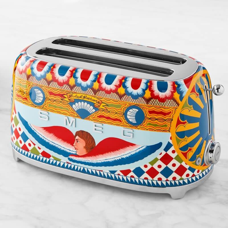 スメッグ ドルチェ&ガッバーナ ポップアップトースター 4枚焼 イタリア製 Smeg Dolce & Gabbana 4-Slice Toaster TSF02DGUS 家電