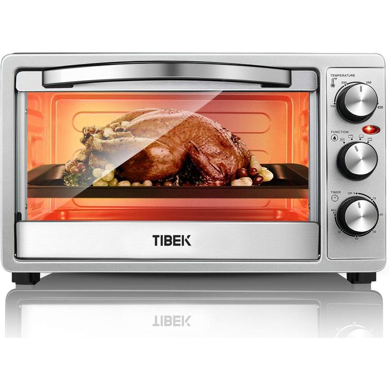オーブントースター ステンレス TIBEK Toaster Oven 6 Slice Oven Toaster SpeedBaking, for Toast/Bake/Broil Function with 4 Heating Elements Intuitive Easy-Reach Toaster Oven Broiler, Stainless Steel Toaster Oven 家電