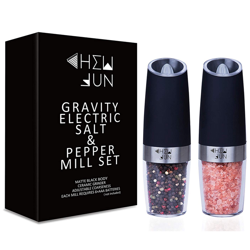 塩コショウ入れ 電池式 電動ソルト&ペッパーセット ライト付き レストラン カフェ Gravity Electric Salt and Pepper Grinder Set of 2 Pepper Mill and Salt Mill with Adjustable Ceramic Rotor Automatic Operation Blue LED Light, Battery Powered 家電