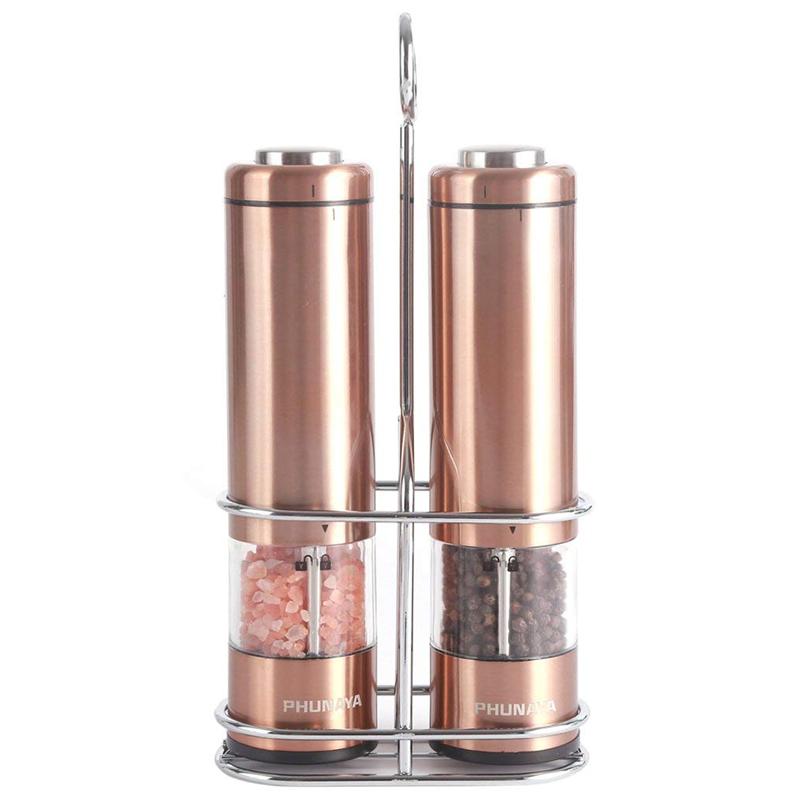 電池式 電動ソルト&ペッパーセット ライト付き 銅 コッパー カッパー レストラン カフェ Phunaya Electric Salt and Pepper Grinder Set With Upgraded Motor |set of 2 家電